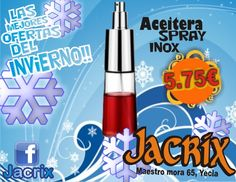 Jacrix en Yecla te ofrece aceitera spray inox por 5,75 € y dale un toque de estilo a tus celebraciones !!!