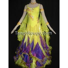 Sunflower Yellow Purple Ruffle Ballroom Paso Doble Dance Dress