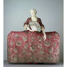 Mantua Court Gown, 1740 - 45, England. This is a magnificent example of English court dress of the mid-18th century. It would have been worn by a woman of aristocratic birth for court events involving the royal family. The style of this mantua was perfectly suited for maximum display of wealth and art; this example contains almost 10lb weight of silver thread worked in an elaborate 'Tree of Life' Design. The train is signed 'Rec'd of Mdme Leconte by me Magd. Giles'. The name Leconte has…
