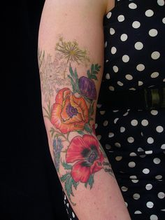 Wildflower sleeve by butterfat78, via Flickr.. true artistry in every piece she does.