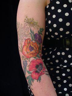 Wildflower sleeve by butterfat78, via Flickr.. true artistry in every piece she does.
