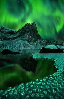 Green Vision  © Marc Adamus  The aurora over a lake with interesting ice bubble shapes. 3 stacked 14mm horizontal shots blended vertically for perspective + 10 shots bracketed and blended for depth of field throughout the ice. The two shots for mountains and sky were taken one right after the other and then I worked on exposing for the ice. 1x.com - Landscape