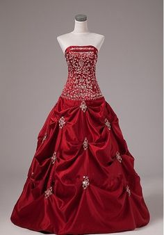Ball Gown\High Quality Deep Red/Crimson Strapless Taffeta Bridal Wedding Dress Gowns 2013 Hot Sale $239.99