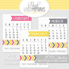 Project Life - 2013 Calendars 3x4 Printable Cards