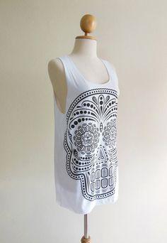 Skull Shirt Day Of The Dead Art Skull  Skull Design by panoTshirt, $15.99