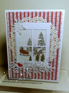 Stampin Up Hearth & Home thinlit, Sleigh Rie edgelit, Sparkly Seasons stamp set card idea. Holiday catalog