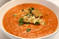 Tomato Basil Bisque With Roasted Garlic Yum - Dinner Table For Five Fresh Garlic, Roasted Garlic, Tomato Basil Bisque, Tomato Tortellini Soup, Tomato Soup, Canning Whole Tomatoes, Bisque Soup, Best Meatballs, Sunday Sauce