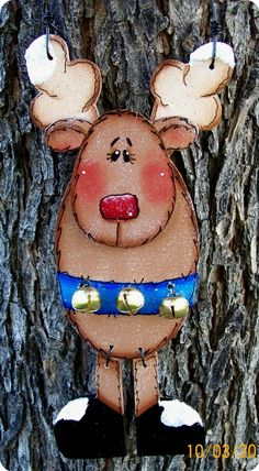 Reindeer with Bells Ornament by CountryCharmers on Etsy, $8.00