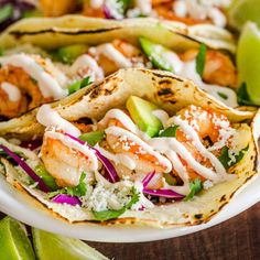 Apr 2020 - Meet your new favorite taco recipe! Shrimp tacos are an easy dinner idea the whole family will love. The shrimp taco sauce is ridiculously good. Taco night or Taco Tuesday will never be the same. Shrimp Recipes, Fish Recipes, Mexican Food Recipes, Vegetarian Recipes, Chicken Recipes, Cooking Recipes, Healthy Recipes, Best Shrimp Taco Recipe, Taco Sauce Recipes