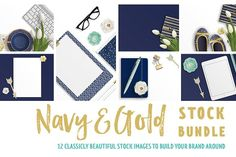Navy & Gold Stock Bundle by Garlic Friday Design on @creativemarket