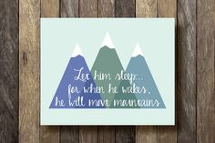 This charming 8x10 mountain printable, done in shades of blue, will make a great addition to any nursery or childs room. Just purchase this
