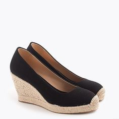 J. Crew Shoes | Nwt J.Crew Seville Espadrille Wedges | Color: Black | Size: 7.5 Caged Sandals, Women's Shoes Sandals, Shoe Boots, Espadrilles, Espadrille Sandals, Loafer Mules, Sneaker Heels, Loafers For Women, Chelsea Boots