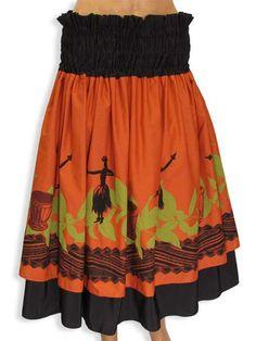 Tropical Pa'u Hula Skirt - Hula Girl Design