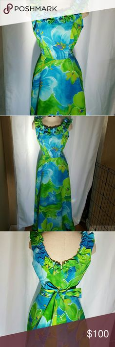 "Vintage Hawaiian Floor Length  Dress Stunning Vintage vibrant colored for length dress.  Purchased in Hilo Hawaii.  Gorgeous on and off. Needs very small repaire where fabric pulled apart from zipper. Can be worn w/o repair cuz its hidden, see photo.  I do not see or iron. Lol. 54"" Long, 15"" bust 14"" waist. Measured laying flat. Vintage Dresses Maxi"