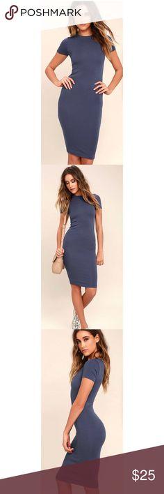 Lulu*s Bodycon Midi Dress 💙 Slate Blue. Size L. NWT Lulu's Dresses Midi