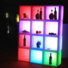 commercial furniture online sale new led illuminated display case waterproof glowing led kitchen cabinets colorful changed cabinet bar ktv
