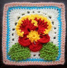 Crochet Pattern - Pansy Granny Square