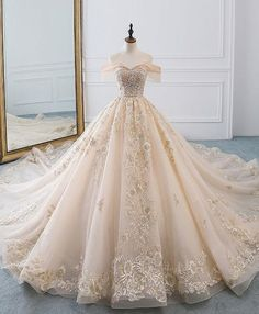 77678065b60e Champagne off shoulder tulle lace long wedding dress, wedding gown