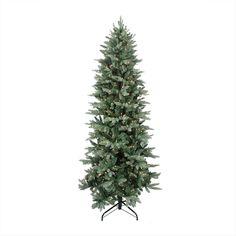 GE 9-ft Pre-Lit Frasier Fir Slim Artificial Christmas Tree White ...