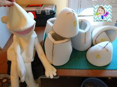 VR Puppet Builds: sewing on the head and gluing the foam for the Baby puppet