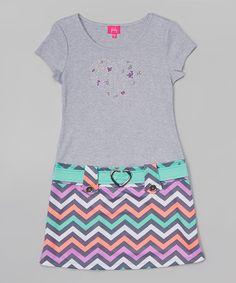 Look at this #zulilyfind! Coral & Gray Chevron Heart Dress - Toddler & Girls by Zunie & Pinky #zulilyfinds