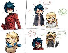 Lol, genderbent Marinette looks snarky (by Bluechui, genderbender, Mario, Adrien, Adrienna, Chat Noir, Miraculous Ladybug)