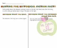 Classroom Freebies Too: Historical Fiction Chart 6th Grade Ela, 5th Grade Reading, Third Grade, Fourth Grade, Teacher Freebies, Classroom Freebies, Classroom Ideas, Graphic Organizer For Reading, Graphic Organizers