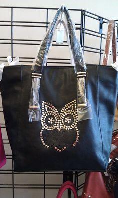 $38.00 Black Owl Handbag www.LesliesHandbags.Net