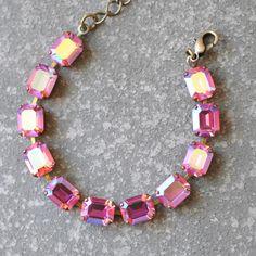 Pink Aurora Borealis Bracelet Swarovski Crystal Rose by MASHUGANA, $46.50