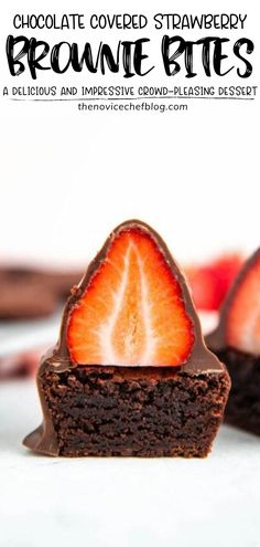 Impressive crowd-pleasing Chocolate Covered Strawberry Brownie Bites! This quick and easy dessert recipe looks just as good as it tastes. Slice them in half to show the inside before serving and watch them disappear! Save these strawberry brownies made from scratch!