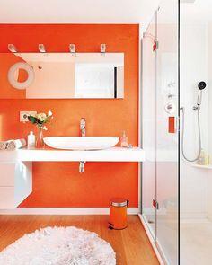 Unexpected Colour - Orange bathroom