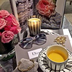 Sipping tea in true Dior style! Credit: basukichandra #Diorvalley #Dior #Tea #TeaTime #AfternoonTea #Jewellery #Sunglasses #Roses #Pink