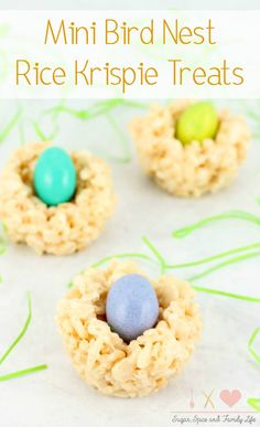 Mini Bird Nest Rice Krispie Treats are a fun kid friendly treat that is perfect for Spring and Easter. Each rice krispie treat is shaped into a nest and filled with candy eggs to make an edible bird nest. - Mini Bird Nest Rice Krispie Treats Recipe on Sugar, Spice and Family Life
