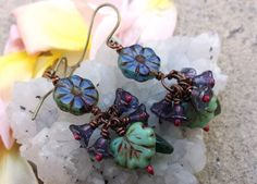 Initiative Handmade Bohemian Antique Brass Earrings With Glass Seed Beads Earrings ooak- Jewelry & Watches