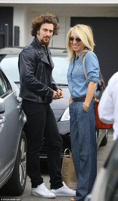 Aaron Taylor-Johnson, and Fifty Shades wife Sam, cut retro figures as they enjoy casual lunch date in Beverly Hills Sam Taylor Johnson, Black Stallion, Double Denim, Alain Delon, Chloe Grace Moretz, Effortless Chic, Benedict Cumberbatch, Fifty Shades, Older Women