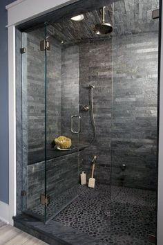 Modern Bathroom With Black Chevron Slate Flooring Grey Slate Bathroom Shower Tile Ideas for [keyword Grey Bathroom Tiles, Bathroom Flooring, Modern Bathroom, Bathroom Ideas, Slate Tiles, Bathroom Showers, Bathroom Canvas, Bathroom Remodeling, Slate Flooring