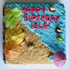 Beach Birthday Cake - The beach will always complete one's Summer. The swimming pool for some. So, why not incorporate your love for the beach with your cake? This cake does not just show the beach in edible form, add a couple of colorful accents to complete the look of your Summer themed cake.