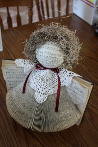 This recycled angel is one of many great book crafts for Christmas. Make a recycled materials craft into a homemade Christmas decoration.