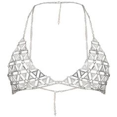 Briella Silver Glitter Chain Bra (90 PLN) ❤ liked on Polyvore featuring intimates, bras, lingerie, tops, underwear, bralette, lingerie bra, glitter bra, bralette lingerie and chain lingerie