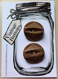 Vintage Carded matching set of 2 Large by bonkersaboutbuttons, £4.00