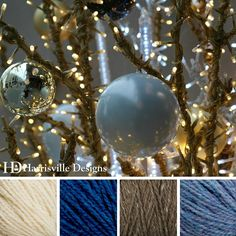 'Happy Holidays' color palette featuring our HIGHLAND yarn in White, Cobalt, Toffee and Cornflower.
