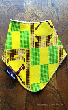 Mustard African print bandana bib backed with by MamanGateau, £8.50