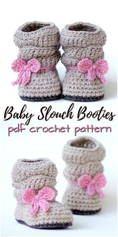 Sweet slouchy slippers pattern in two siz… Gorgeous baby booties crochet pattern. Sweet slouchy slippers pattern in two sizes Crochet Baby Boots, Baby Girl Crochet, Crochet Baby Clothes, Crochet Slippers, Crochet For Kids, Crochet Beanie, Häkelanleitung Baby, Baby Hut, King Baby