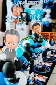 Kindra V's Birthday / Boss Baby - Photo Gallery at Catch My Party Boss Birthday Gift, Baby Boy 1st Birthday Party, Baby Party, Birthday Ideas, Kids Party Tables, Boss Baby, Family Birthdays, Baby Boy Shower, Party Ideas