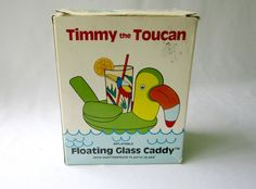 Water Drink Caddy Timmy The Toucan Floating Glass by GoshenPickers