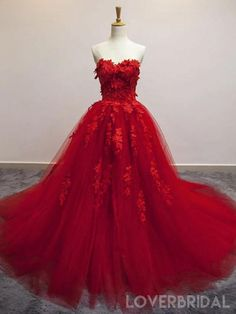 Red Lace Prom Dress, Floral Prom Dresses, Red Wedding Dresses, Quince Dresses, Cheap Prom Dresses, Pretty Dresses, Bridal Dresses, Beautiful Red Dresses, Red Sweet 16 Dresses