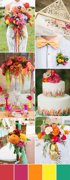 colorful rustic summer wedding inspiration with red yellow and green
