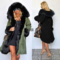 e3cee68cf65 New Women Winter Warm Thick Hood Faux Fur Coat Parka Long Jacket Size S-XXXL