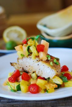 White Fish With Tropical Salsa.  Low Carb, clean and high in protein.