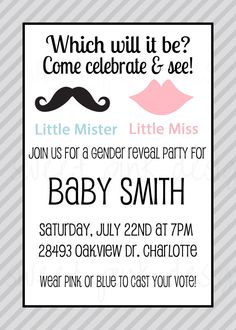 mister or miss gender reveal party invitation on Etsy, $17.50
